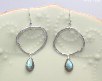 Labradorite Earrings, Sterling Silver Freeform Brushed Circles Hoops, Labradorite Jewelry, Gemstone Jewelry