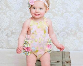 Baby Girl Sunsuit Romper, Ruffle Romper, Toddler Girl