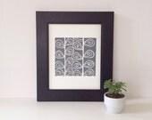 Retro Modern Grey Modern Art Linocut Poster of garden stems 8 x 10