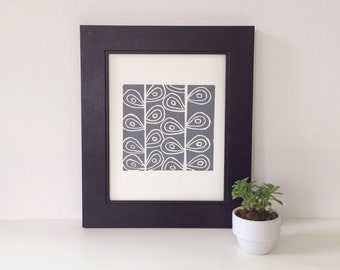 Retro Modern Grey Modern Art Linocut Poster of garden stems 8 x 10