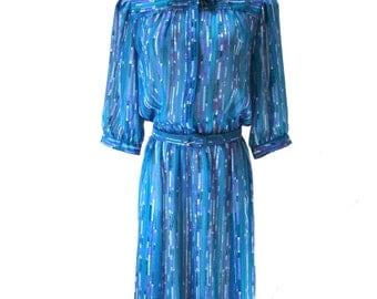 Vintage Dark Teal Dress / Geometric Dress / Blue Day Dress / Sheer Dress / Puffy Sleeve Dress M