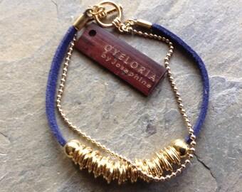 Gold beaded bracelet,  gold bracelet with beads, gold link beads, simple gold bracelet, navy blue faux suede bracelet, VEGAN faux suede