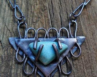 Amazonite Stone Copper Pendant Handmade Copper Chain