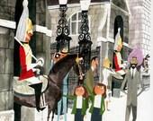 vintage LONDON print of Royal Guard on Horseback outside Whitehall, mid century illustration by Sasek