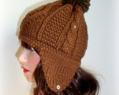 Earflaps Brown Knitted Hat - The Weekender Pompon Hat in Brown - Women Winter Autumn Accessories - Winter Fashion - Winter Hat