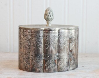 Vintage Silver Box, Ornate Trinket Box, Art Deco Box, Red Velvet Lining,  Lidded Treasure Box,  Jewelry  Holder, Vintage Jewelry Box, Gifts