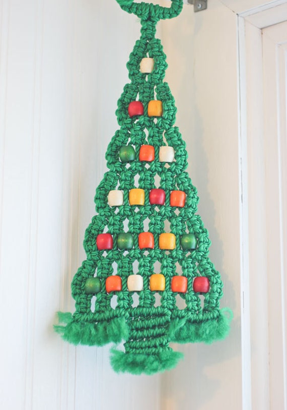 Macrame Christmas Tree Green Tree Retro Christmas By