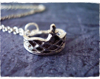 Silver Tiara Necklace - Silver Pewter Tiara Charm on a Delicate Silver Plated Cable Chain or Charm Only