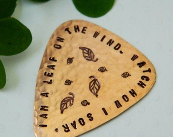 I Am A Leaf On The Wind, Copper Guitar Pick, Serenity Firefly, Handmade Plectrum, Hoban Washburne, Browncoat, Fandom, Whedon, Musician Gift