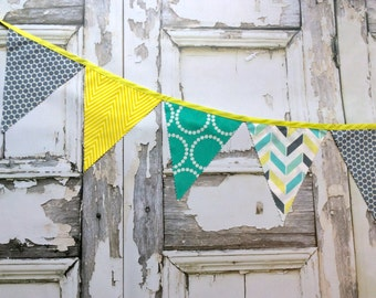 Fabric Bunting Flags party Decoration grey dots, bright teal rings, chartreuse chevron