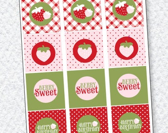 Strawberry Party PRINTABLES Party Tags (INSTANT DOWNLOAD) by Love The Day