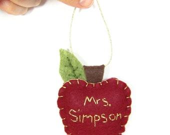 Apple Teacher Ornament, Felt Christmas Ornament, Apple Teacher Gift, Teacher Appreciation Gift, Back to School Personalized Teacher Gift