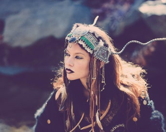 TRIBAL HEADDRESS with Steel ANTLERS and Leather Fringe