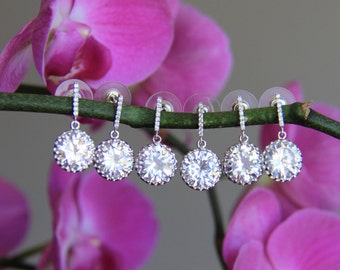 Set of 1-12 bridesmaid earrings, cz earrings, wedding jewelry, bridal jewelry, wedding earrings, bridal earrings, bridesmaid earrings
