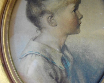 "VINTAGE PORTRAIT PINK Cheek Girl In Sailor Collar Oval Gold Frame Victorian Girl ""Charlotte"" Sidney Bell"