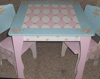 Custom Made Table And Chair Set For Girls Pink Shabby Blue