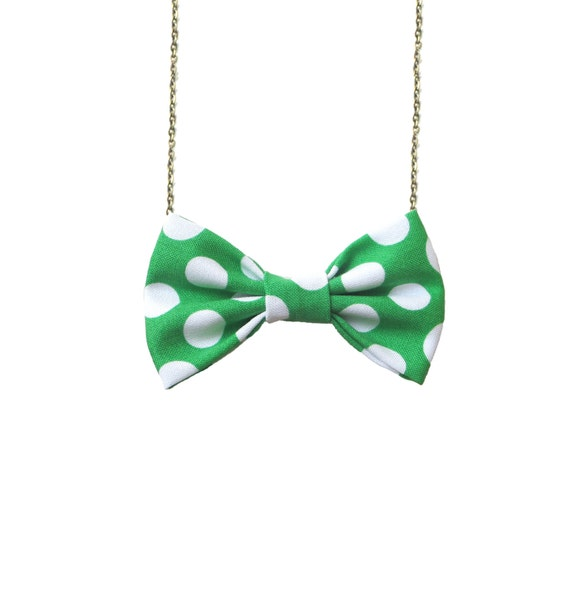 Green White Polka Dots Bow Tie Necklace, Casual Bowtie Women Dots