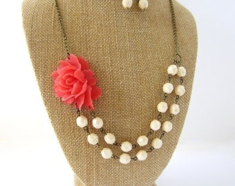 Flower Necklace Coral Statement Necklace Wedding Jewelry Set Bridesmaid Necklace Coral Bridesmaid Jewelry Set Floral Jewelry Coral Wedding