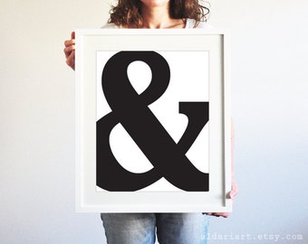 Black Ampersand Art Print - Black and White Typography Wall Art - Modern Home Decor