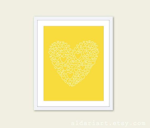 Love Heart - Wall Art Print - Nursery Decor - Yellow Lemon