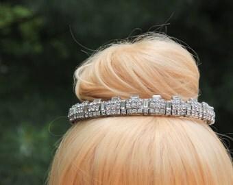 Vintage White Crystal Rhinestone Architectural Style Mini Tiara