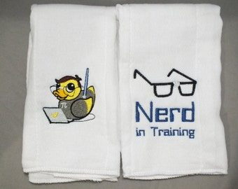 Nerd burp cloth geek burp cloth personalized burp cloth baby boy burp cloth baby girl burp cloth nerdy burp cloth geeky burp cloth