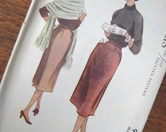 1953 Pencil Skirt - Vintage Sewing Pattern - McCalls 9276 - Waist Size 26 in -1950s Wiggle Skirt - Welt Pockets
