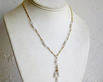 Vintage Sterling Silver Gold Vermeil Pearl & Crystal Dangle Drop Necklace