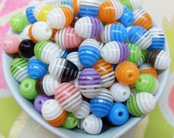 25x 12mm Multi Colour Resin Egg Shaped Oval Multi Stripe beads