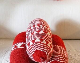 Pillow Crochet Marrakech  -  Red triangles