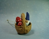 Walnut Ornament 2013 Edtion Gnome with Mushrooms Minitures made with a real Hand carved Walnut