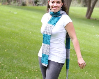 Crochet Striped Scarf -- Gray and Teal -- textured shell pattern