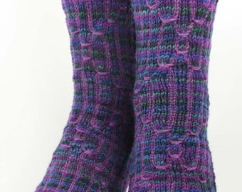 SCI-FI SOCKS in Purple Narrow Width - Superwash Merino Wool, Nylon