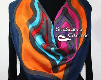 Hand Painted Silk Scarf. Blue, Purple, Orange Handmade Silk Scarf DREAMING IN COLOR, offered in 2 Sizes. Silk Scarves Colorado. Hand Dyed