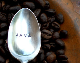 Coffee Spoon JAVA Teaspoon. The ORIGINAL Hand Stamped Vintage Coffee Spoons™ by Sycamore Hill. Teaspoons CUSTOM personalized. Coffee Gift