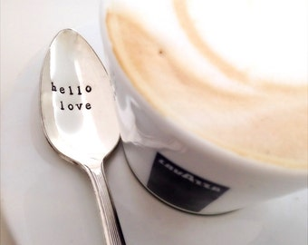 Hello Love. Coffee Spoon. The Original Hand Stamped Vintage Coffee Spoons by Sycamore Hill PERSONALIZED CUSTOM. Gift Idea for Coffee Lover.