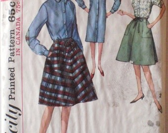 Women's Wrap Skirt and Shirt Dress - Vintage 1960's Pattern - Simplicity 5385 - Size 16, Bust 36
