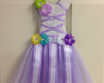 Tutu Dress Hair Bow Holder Lavender With Flowers