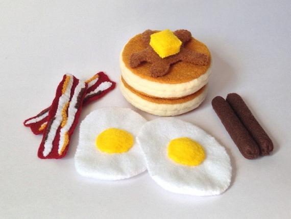 Felt food breakfast set - pancake, eggs, bacons, sausages - eco friendly children's pretend play food for toy kitchen, felt breakfast set