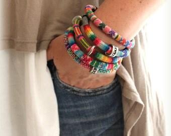 Peruvian manta Inca Fabric Textile set of 5 bangle Bracelet Tribal summer accessory Bohemian Ethnic Pastel colors jewelry Design by Inali