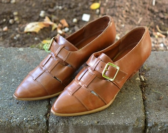 Vintage Mod Brown Woven Leather Buckle Shoes 6