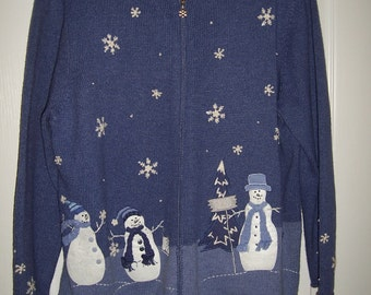 Christmas Sweater, Holiday Sweater, Croft & Barrow, Blue with Snowmen, Plus Size, by Nanas Vintage Shop on Etsy