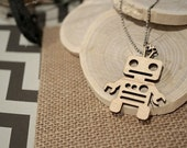 Roboto Robot Wooden Acrylic Laser Cut Necklace w/Chain