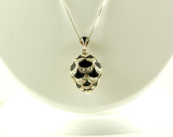 NECKLACE FABERGE EGG (Faux) Pendant Sterling Silver Pearl Crystals Chain Retail 125.00 + Tax!!  Sale!