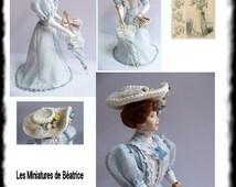 "Pauline, porcelain dollhouse doll :12th. Doll Handmade by "" Les Miniatures de Béatrice"""