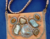 SALE- pale tan leather purse embroidered with beads & Jasper' Cabochons.