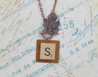 SCRABBLE Custom Tile Necklace. You Choose Letter.  Antique copper