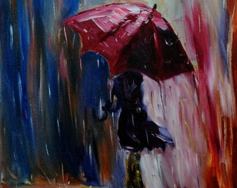 Rainy Day-FINE ART PRINT Contemporary Abstract Impressionism Oil Painting