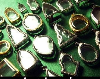 Terrarium Necklace, Wholesale Clear Locket, Empty Pendant, Reliquary, Intirado, Silver tone, Gold tone, Embossed, Craft Supplies, 25pcs