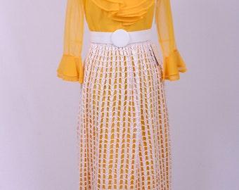 70's Inspirational Runway Statement Piece Golden Yellow and White Raffia Macramed Skirted Maxi Dress